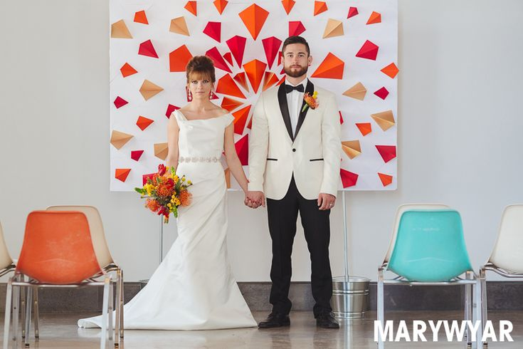 Retro Mid Century Mod Toledo Bright Colored Shoot Elite Events Toledo Floral Designers Photographed by Mary Wyar Photography http://marywyarphotography.com