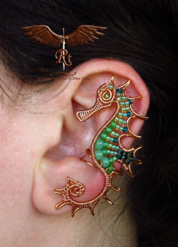 Seahorse ear cuff, seafoam green seahorse, copper wire and light green, no piercing