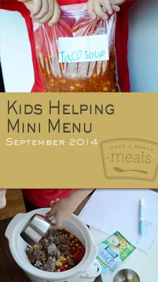 Filled with simple recipes and opportunities for little hands to help, our Kids Helping Mini September 2014 Menu brings the family together before the meal even begins. | Kids Helping Mini September 2014 Menu | Once A Month Meals | OAMC | Freezer Cooking | Freezer Meals | Customized Shopping List | Custom Serving Menus | Pre-planned Menus | Customize your own!