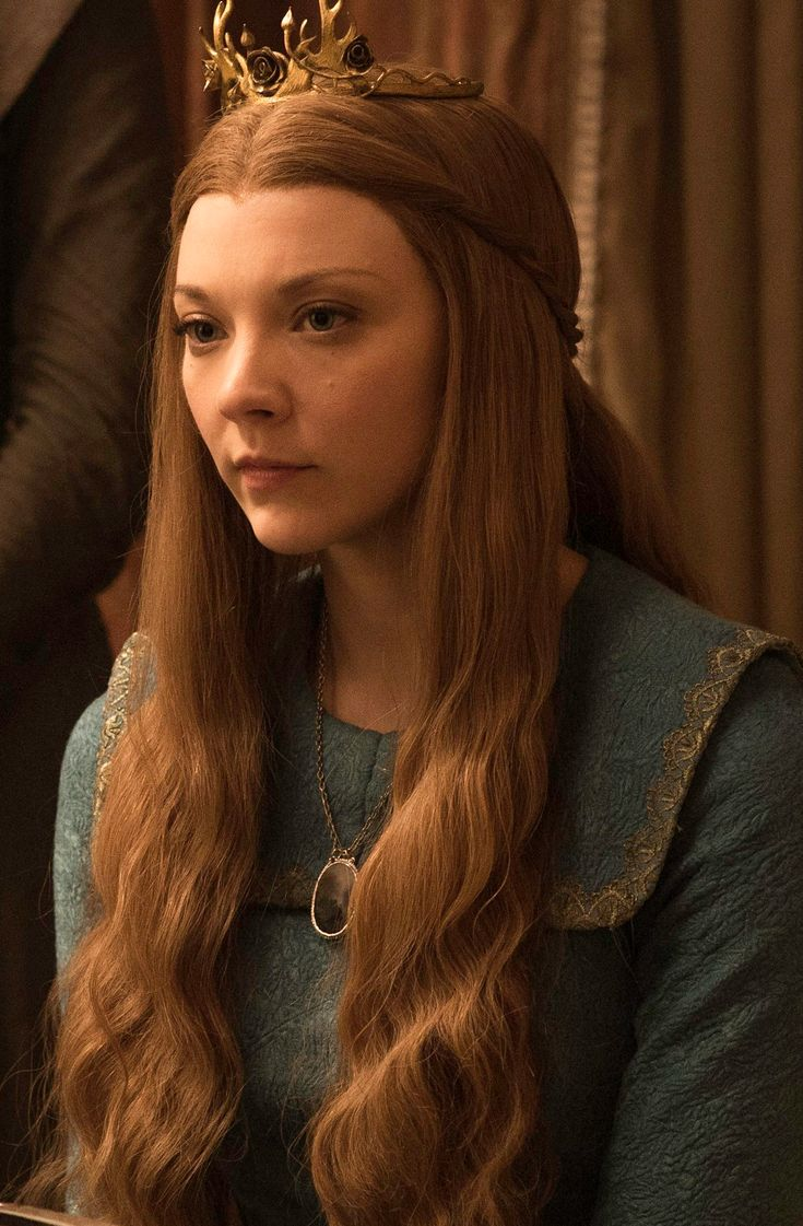 """Queen Margaery Tyrell is a major character in the second, third, fourth, fifth, and sixth seasons. She is played by Natalie Dormer and debuts in """"What is Dead May Never Die"""". Margaery is the only daughter of Lord Mace Tyrell and Lady Alerie Tyrell, granddaughter of Lady Olenna Tyrell and sister of Ser Loras Tyrell. Margaery became Queen Consort through her marriage to King Joffrey Baratheon, and later his younger brother Tommen Baratheon following Joffrey's death. She is killed in the..."""