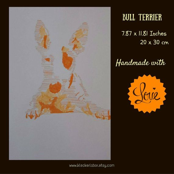 """Handmade illustration """"Bull Terrier""""    Year: 2016  Format: 20 x 30 cm  Original: Yes  Signed: Yes  Frameless picture frame incl: Yes  Free shipping: Yes 