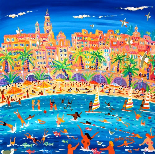 Swimming, Sailing and Snorkeling, Menton 24 x 24 inches, acrylic on canvas 61 x 61 cm, acrylique sur toile