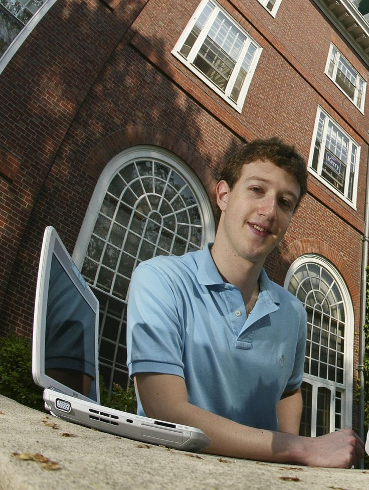 Mark Zuckerberg creater of 'Facebook', photographed at Eliot House at Harvard University, Cambridge, MA. on May 14, 2004. Facebook was created in February 2004, 3 months prior to this photograph. (Photo by Rick Friedman/Corbis via Getty Images)  via @AOL_Lifestyle Read more: https://www.aol.com/article/finance/2017/03/09/mark-zuckerberg-and-wife-priscilla-expecting-their-second-child/21877652/?a_dgi=aolshare_pinterest#fullscreen