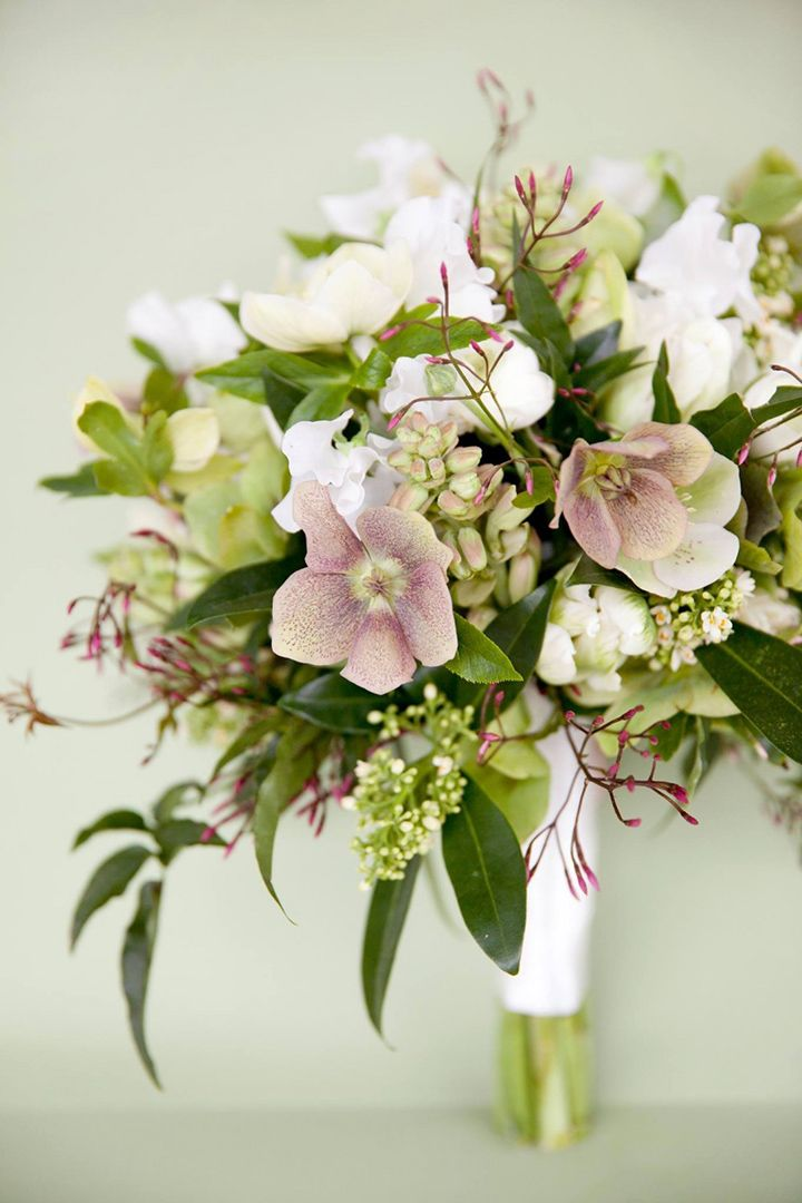Pretty bridal bouquet featuring hellebores, sweet pea, jasmine and tuberose
