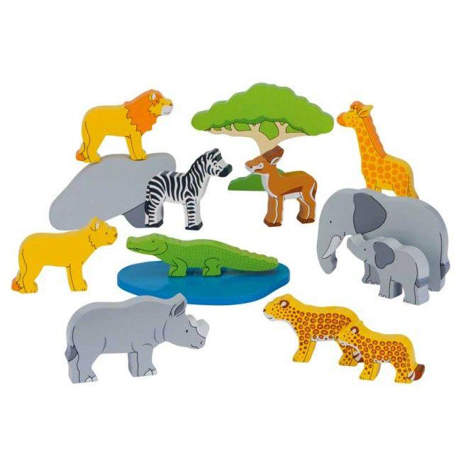 Afrikas djur i trä