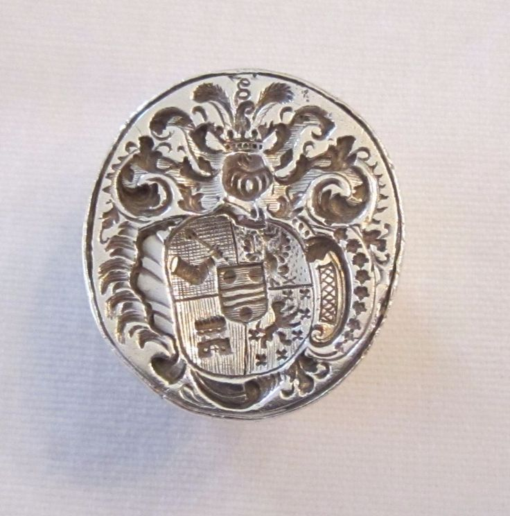 Antique Sterling Silver Family Crest Or Coat Of Arms Wax