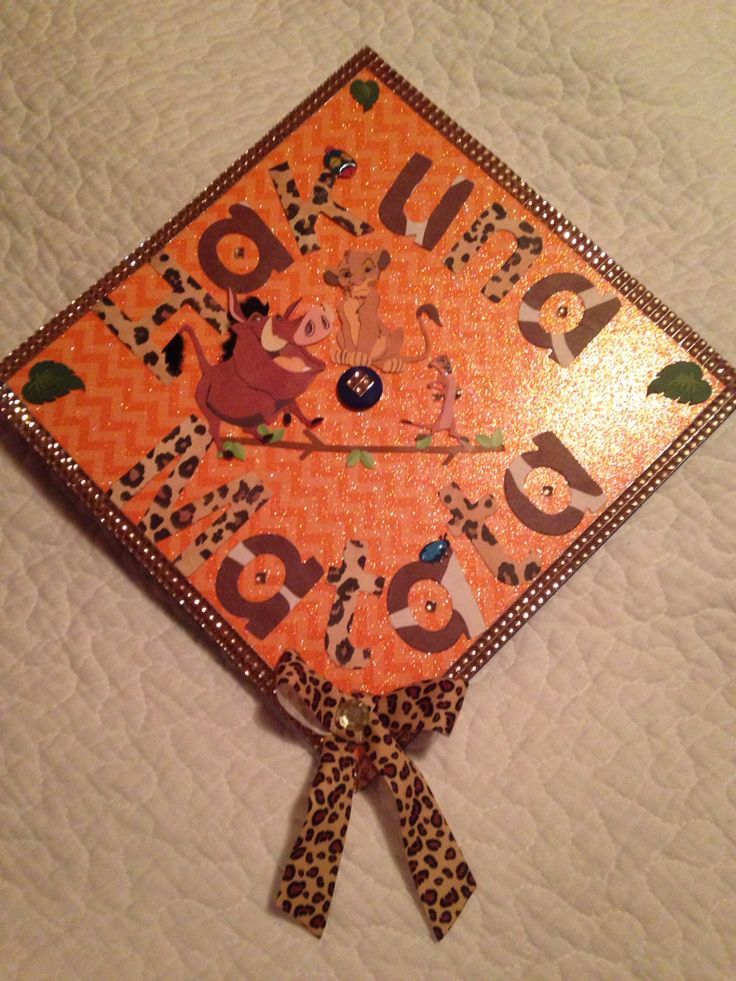 The Lion King inspired graduation cap. HAKUNA MATATA, it means no worries