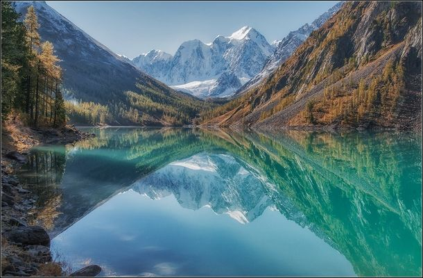 Lake Shavlinsky Altai Mountains Russia  by Anatoly Dovydenko