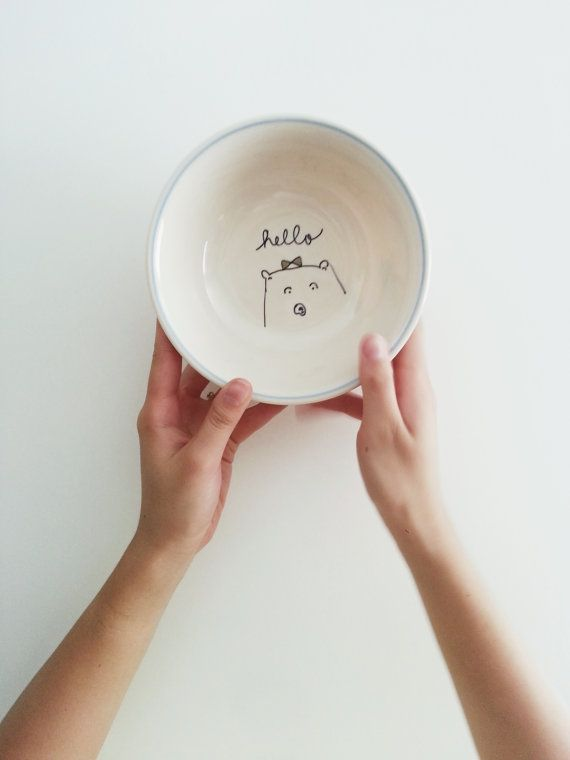 blue rimmed 'hello' bear bowl by rosemary paper by rosemarypaperco