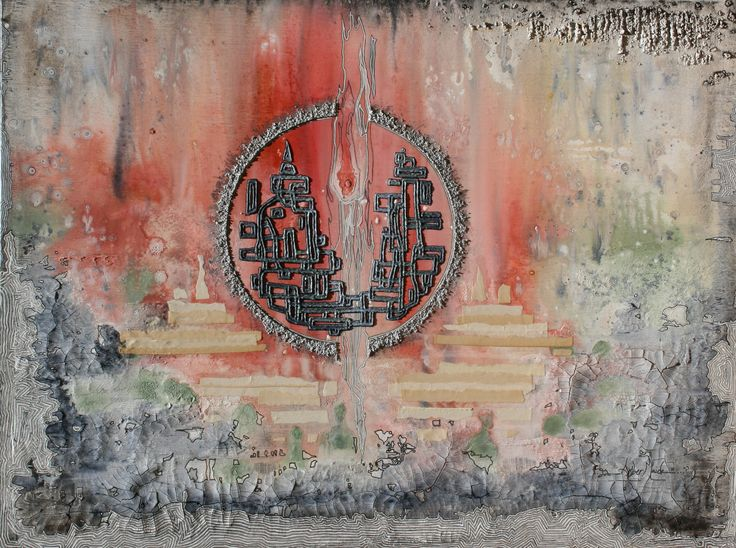 Torch of Time 24x36 inches Mixed media on canvas sold Amber Maida