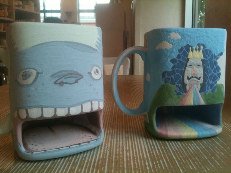 Cookie Storing Mugs We Painted At A Paint Your Own Pottery Place D Totoro And