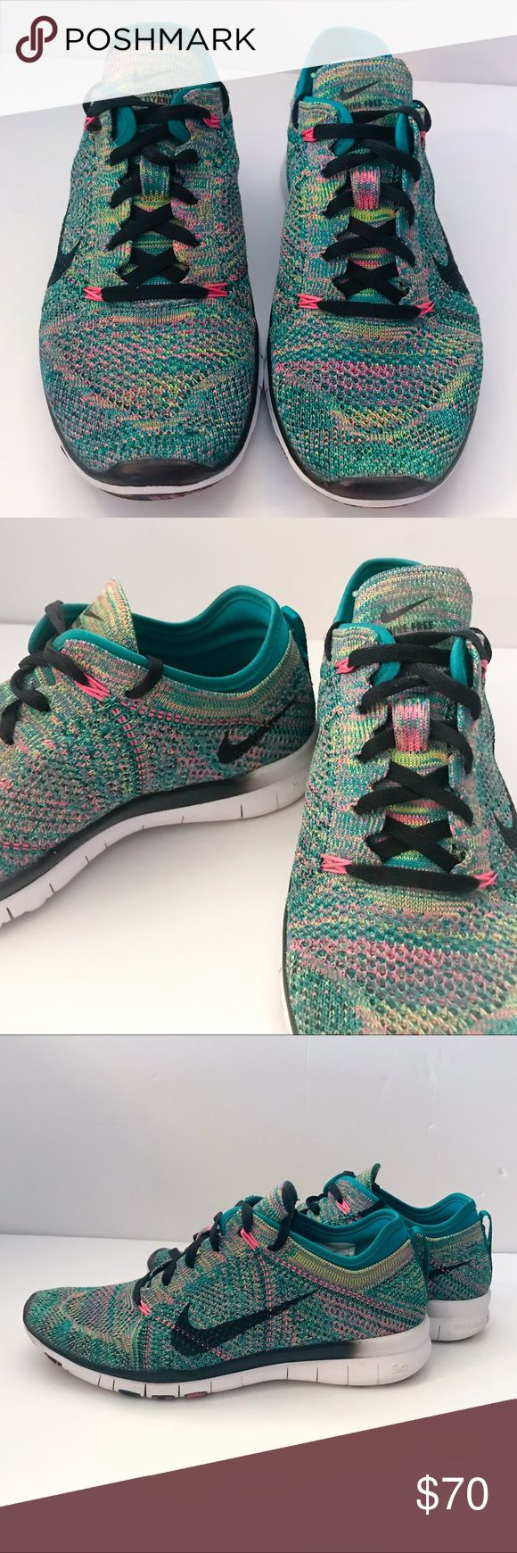 Nike Free 5.0 Flyknit Fruity Pebble Colors Nike Free 5.0 Flyknit Fruity Pebble Colors Size 7.5 unisex, EUR size 38.5 which posh says is 8.5 women's. Great bright white edging for the soles, excellent condition and very unique color and design. These are trendy and will make any outfit pop! Pair with some jeans and a blazer for an updated look or a cute matching pull over for more casual style. Make an offer or bundle for discount! Nike Shoes Sneakers