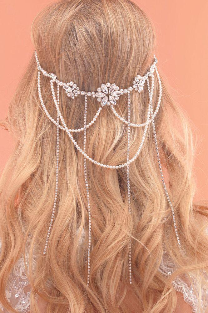 Wedding Pearl Strand Bridal Hairvine Halo Wrap Pearl Hair Decoration Simple Pearl Hair Vine Bridal Hairvine Hair Wreath Circlet