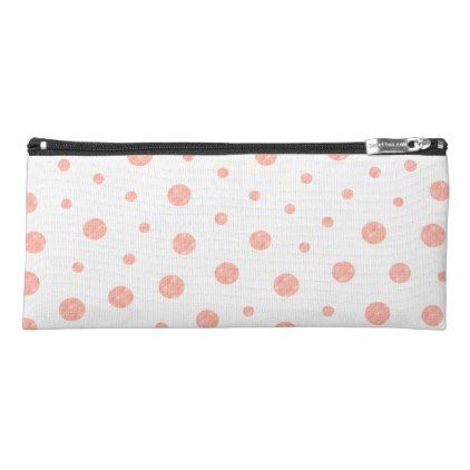 Elegant polka dots - Soft Pink Gold White Pencil Case - elegant gifts gift ideas custom presents