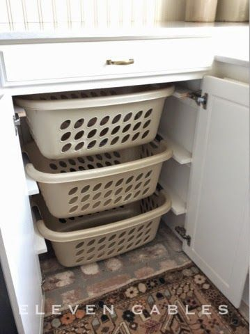 Concealed laundry sorting baskets
