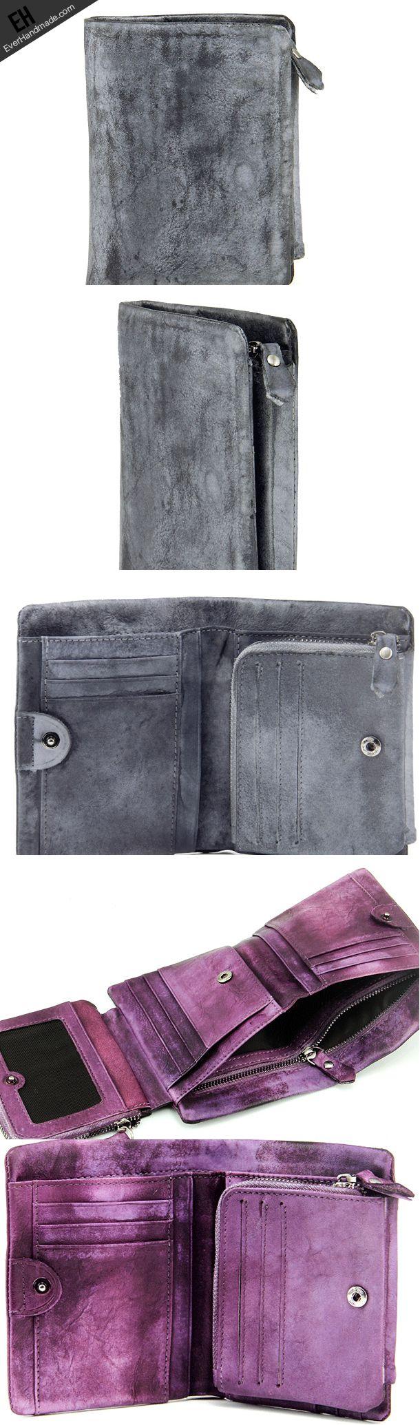Handmade men short leather wallet men vintage brown gray purple wallet for him