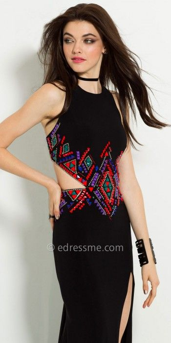 You are sure to stand out at formal in this Aztec Beaded Jersey Racer Prom Dress by Camille La Vie. The jewel neckline, cutout sides, Aztec multi color beaded detail, and side slit skirt give this evening gown a unique feel. #edressme