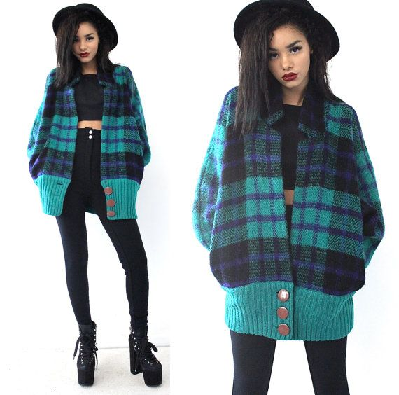 vintage 90s oversize fuzzy plaid knit batwing grunge by