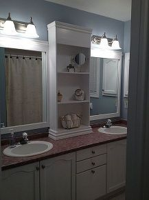large bathroom mirror redo to double framed mirrors and cabinet, bathroom, design d cor
