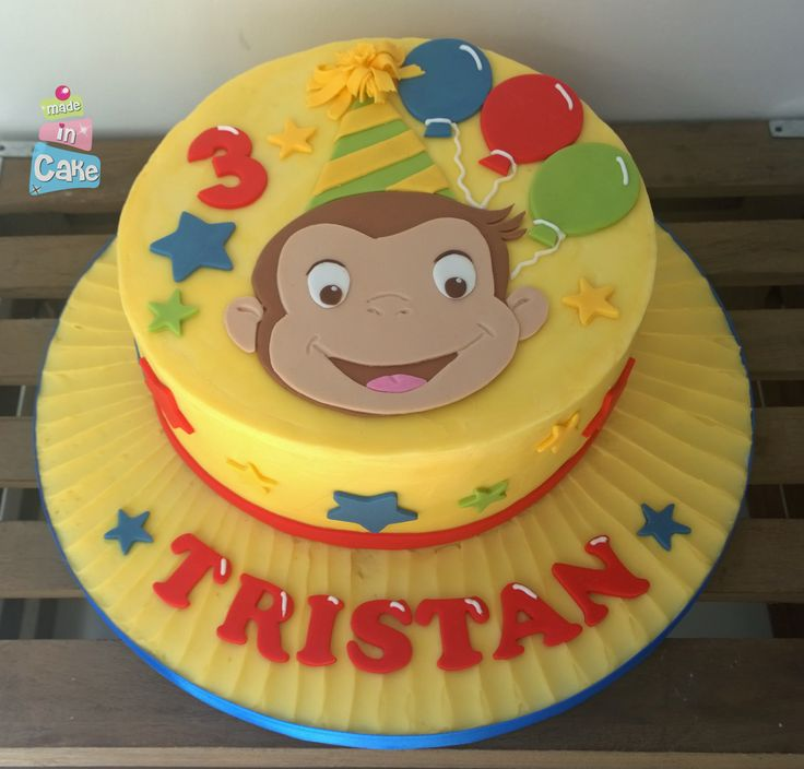 Curious George birthday cake, buttercream with sugarpaste accents