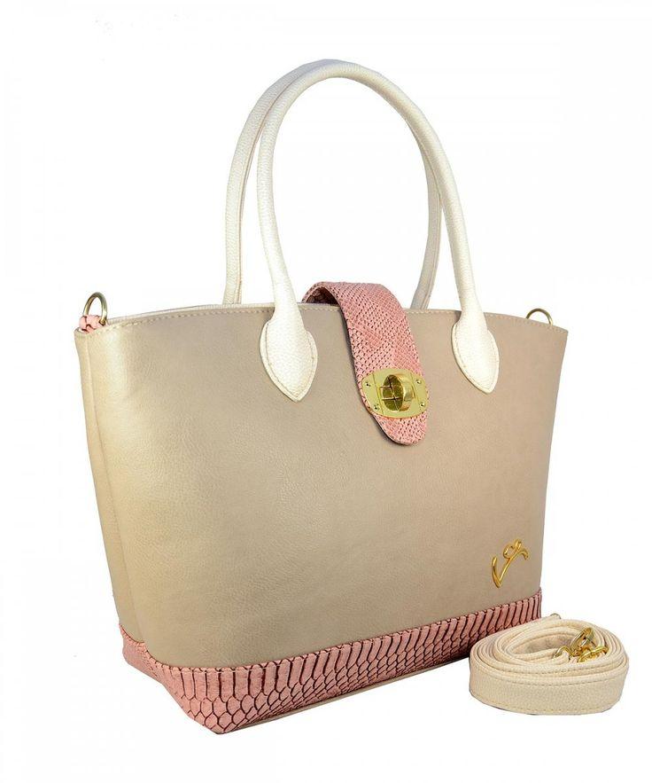 Ροζ γυναικεία τσάντα ώμου Veta