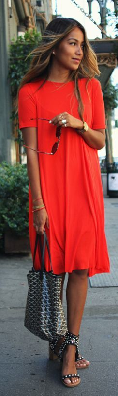 Love this Red dress for Miami! Casual, relaxed, looks super comfortable for warm weather.  Looks dressed up with funky shoes and bag :)