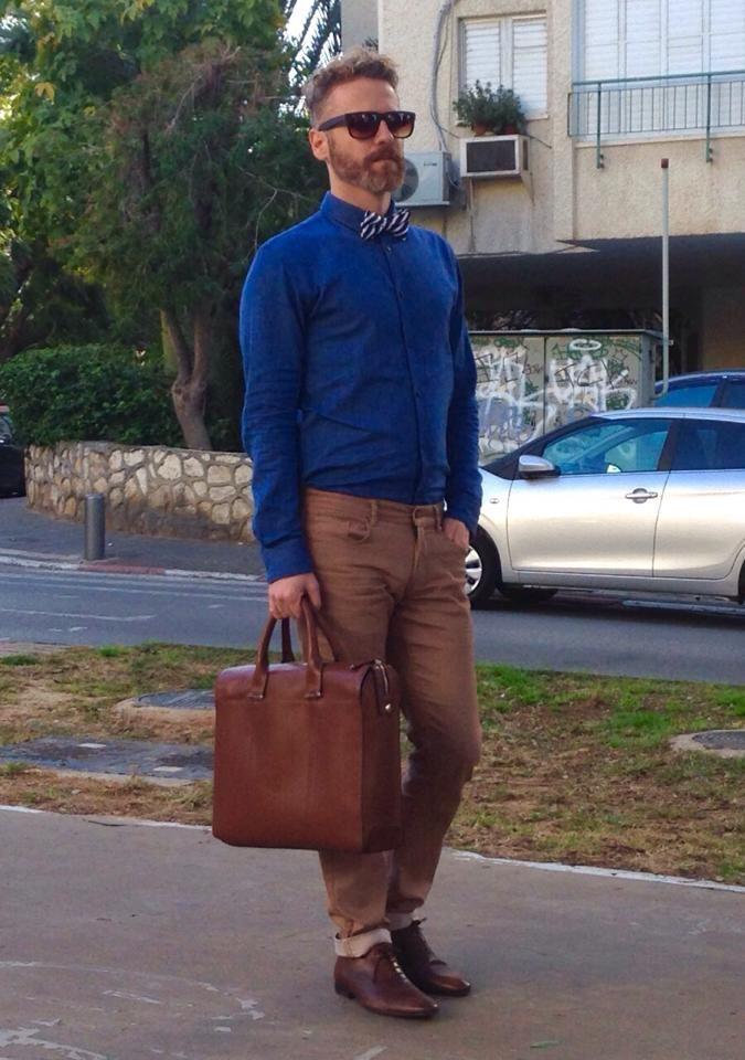 @Tel Aviv  Zara's Brown Leather bag Zara's Brown Leather shows and belt Zara's Blue Jeans shirt H&M Blue\White Striped Bow tie Carolina Lemke wooden sun glasses