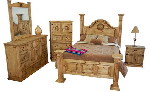 4 PC Rustic Big Sky King Size Poster Bedroom Set with Star