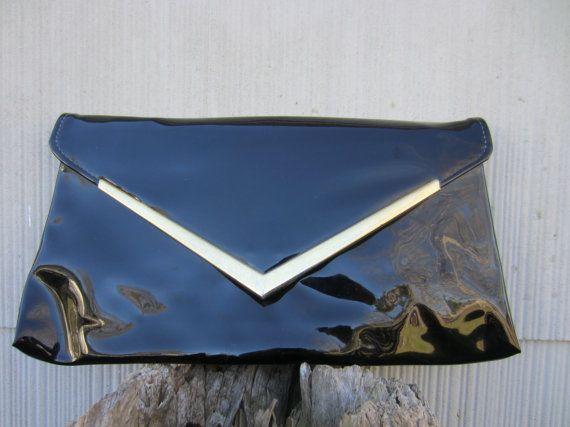 70s Super Glossy Black Clutch w/ Golden Frame // Vintage Flat Party Purse