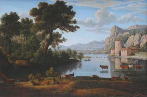 John Glover was an English/Australian artist in what is known as the early colonial period of Australian art. In Australia he has been dubbed the father of Australian landscape painting (John Glover, Mill on the Tiber, 1840)