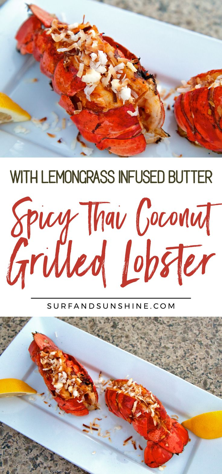 A Thai inspired grilled lobster recipe w/sweet toasted coconut and lemongrass infused butter with a hint of sriracha. Simple, looks amazing & tastes even better via @Jeanabeena