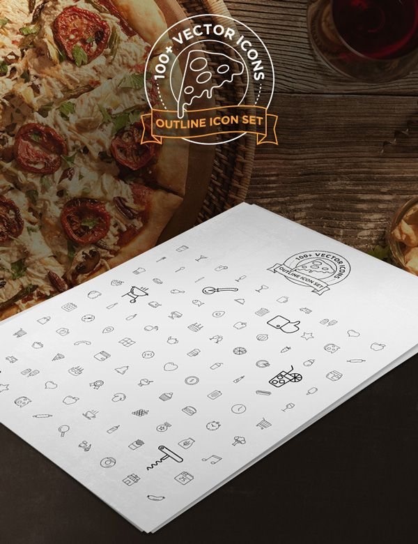 Outline Icons For Restaurant or Pizza House Website (AI,PSD)