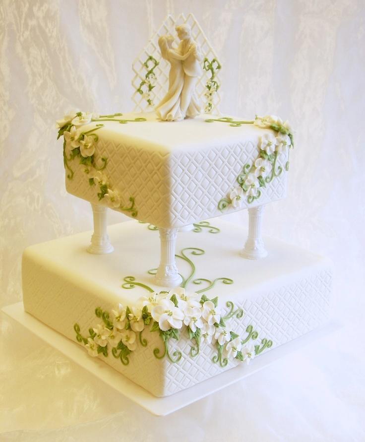 two tier wedding cake with barley twist pillars - two tier wedding ...