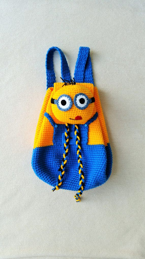 Minion Crochet Backpack birthday gift christmas by Solutions2511 FINISHED PRODUCT for sale / soooo cute! what child wouldn't like this!