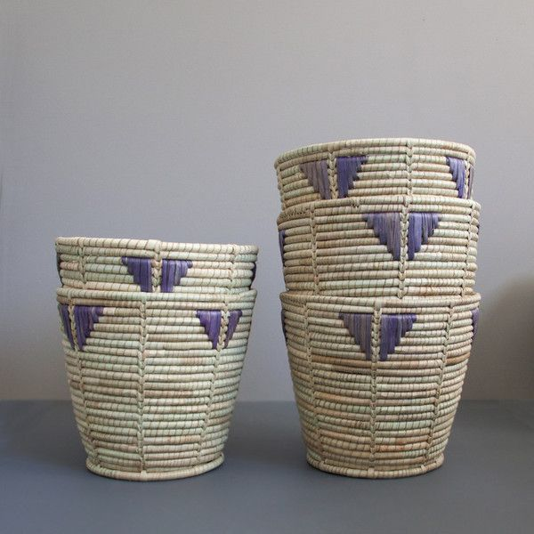 Ilala purple and natural storage or wastepaper  basket | The Woven Trail.   #woventrail
