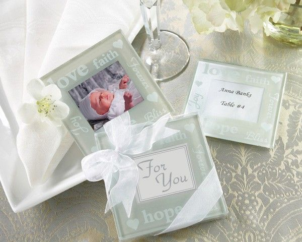 Hope Faith And Love Pearlized Photo Coasters By FavorIdeas