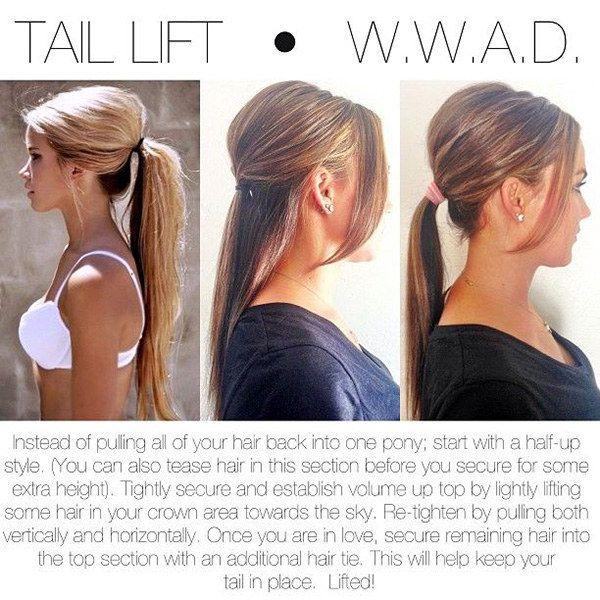 Obtén un poco de altura en la parte superior al realizar un peinado de media cola primero y sin necesidad de aplicar laca. | 27 consejos y trucos para lograr hacer una cola de caballo perfecta