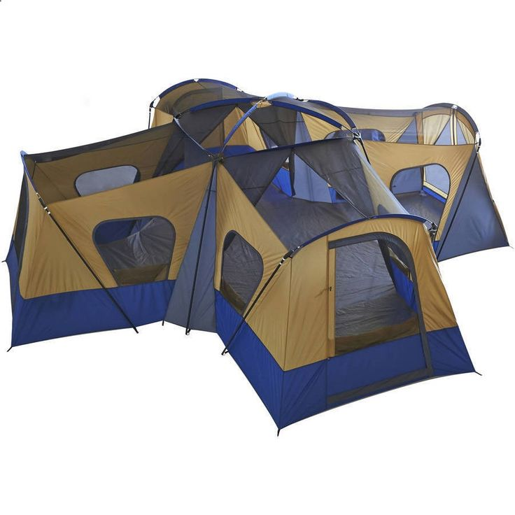 Camping Tents - Large Family Camping Tent 14 Person W 4 Rooms Separate Exit Outdoor Camping Blue #FamilyCampingTent #FrameTent
