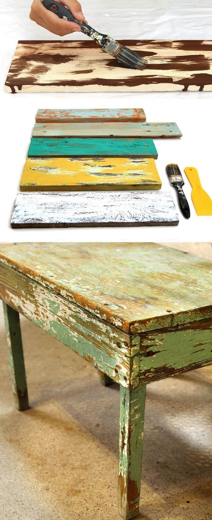 Ultimate guide on how to distress wood and furniture. Video tutorials of 7 easy painting techniques that give great results of aged look using simple tools. A Piece of Rainbow #reclaimedwoodfurniture