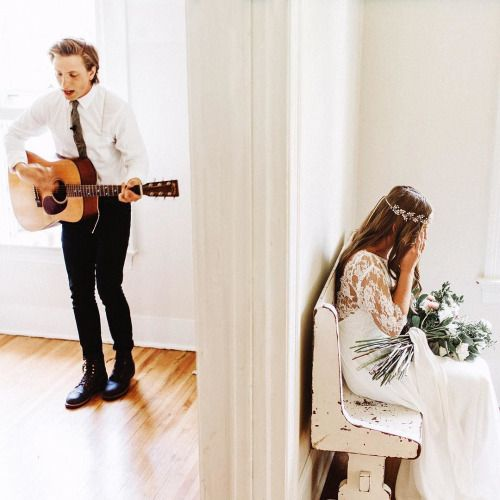 benjhaisch:  One of my favorite moments from this year. @gregorywoodman wrote a song for his soon-to-be wife @annamaewoodman and played it for her before their first look. https://instagram.com/p/814q1rqW4l/ Photo by Benj Haisch