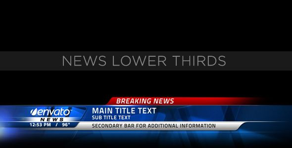 News Lower Thirds customizable After Effects lower third project template for video.