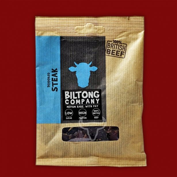 Peppered Steak Original Biltong - 35g Bag - Made Using 100% British Grass-Fed Beef by The Chichester Biltong Company on Gourmly
