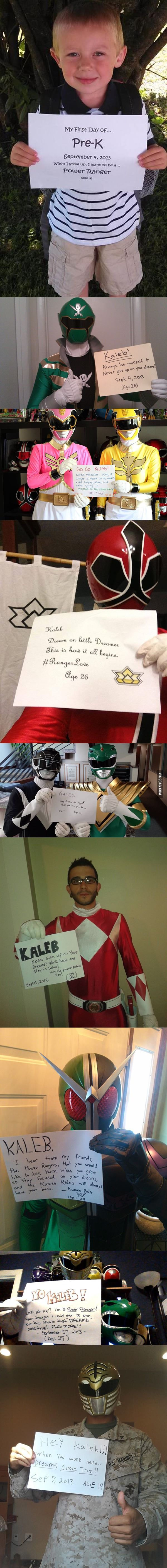 So this kid wants to grow up to be a Power Ranger. The Power Rangers seem to approve.