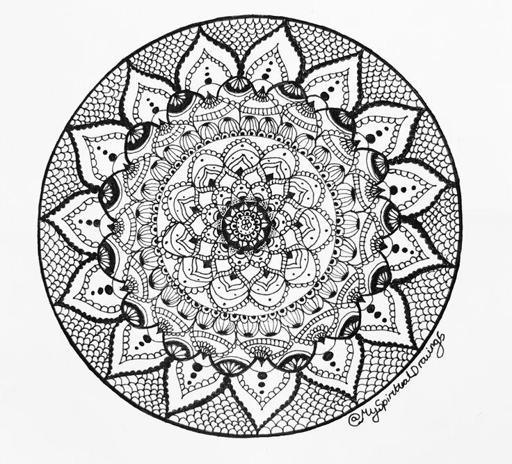 A new drawing I done hope you like it #mandala #drawing #art #pretty #indian #spiritual #black #white