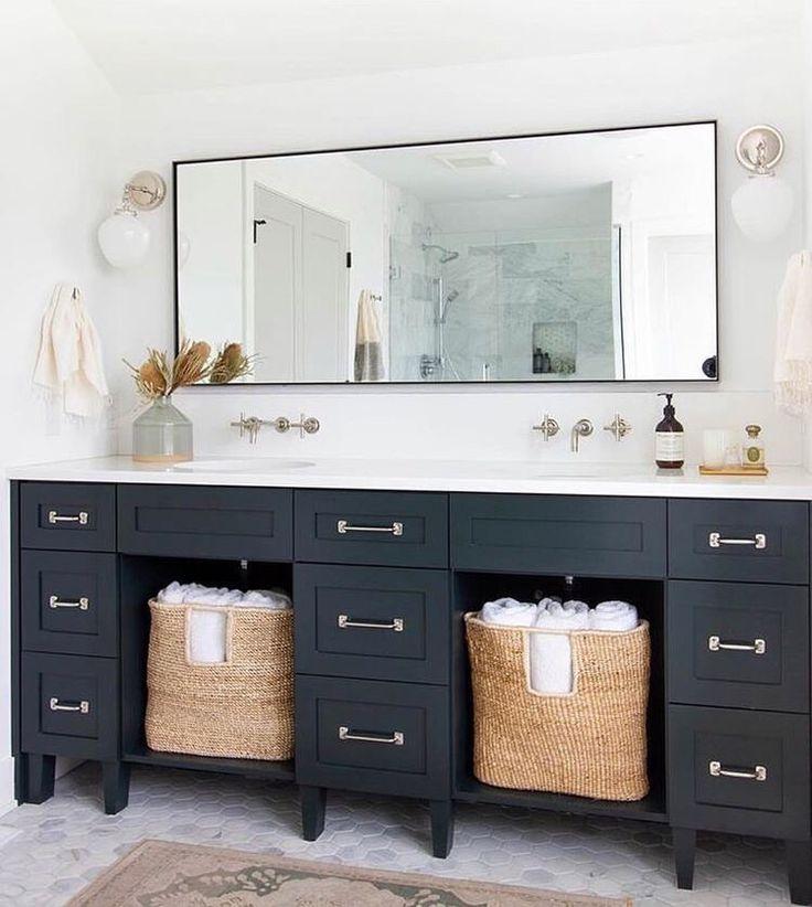 this stylish rectangular mirror with thin black edging on vanity for bathroom id=87905