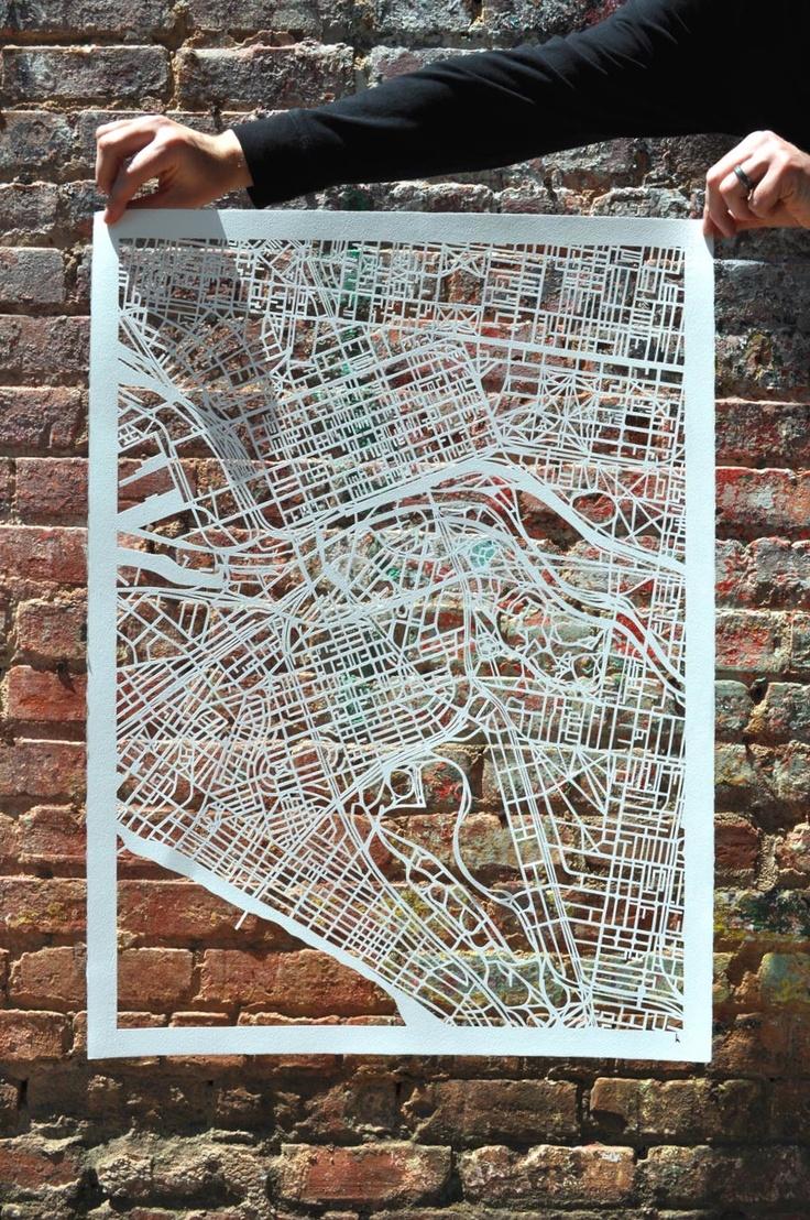Melbourne handcut map