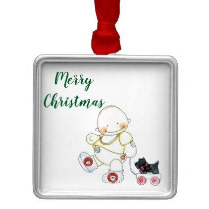 BABY PULLS WAGON CHRISTMAS ORNAMENT - Xmas ChristmasEve Christmas Eve Christmas merry xmas family kids gifts holidays Santa