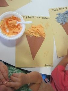 Puffy Ice Cream Cones The children love this fun mixture and I like the idea of using it with an ice cream unit.  I like the idea of ice cream all the time come to think of it...