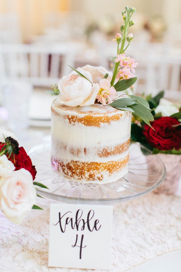 Naked floral topped mini cake: http://www.stylemepretty.com/little-black-book-blog/2016/06/02/cakes-as-centerpieces-for-florida-spring-wedding/ | Photography: Jacqui Cole Photography - http://jacquicole.com/