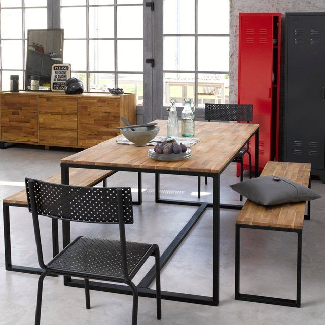 HIBA Solid Walnut and Steel 6-8 Seater Table La Redoute Interieurs